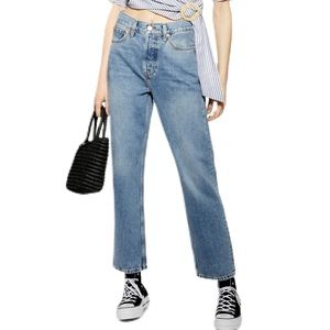 NWOT Topshop Mid-Rise Blue Dad Jeans Button Fly